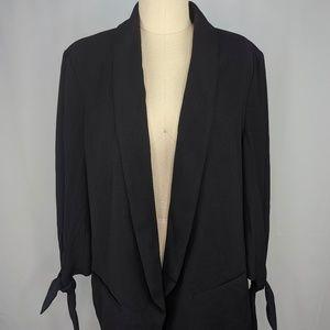 Bar III Womens Tie Sleeve Blazer Black sz L